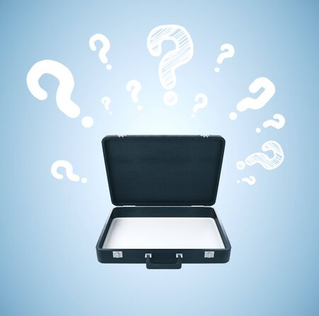Opened briefcase with question mark on blue background. 3D Rendering