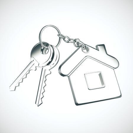 Key with key chain in form of house on gray background. 3D Rendering