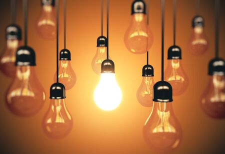 Many light bulbs hanging the wire and one glows. Business idea concept. 3d rendering