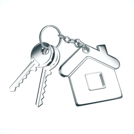 Key with key chain in form of house on a white background. 3D Rendering