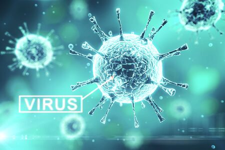 Virus or bacteria cells on blue background. Healthcare and medicine Concept. Close up. 3D Rendering