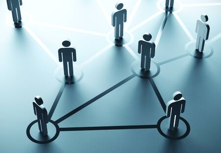 Grupa ludzi rozmawiających w sieci społecznościowej. Koncepcja komunikacji biznesowej. Renderowanie 3D