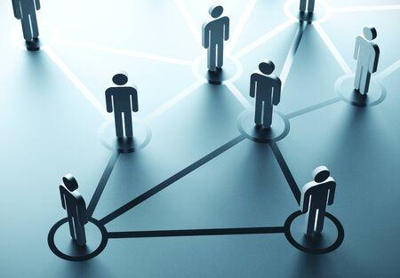 Gruppo di persone che parlano nei social network. Concetto di comunicazione aziendale. Rendering 3D