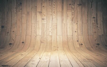 Old curved wooden background, wooden parquet, texture with copy space. 3D Rendering