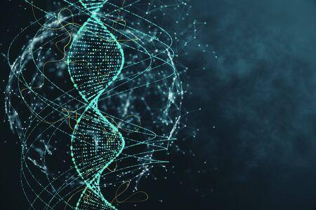 Abstract green DNA background. Innovation, medicine and technology concept. 3D Rendering Reklamní fotografie