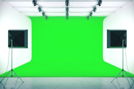 Photo studio with empty green background and professional lighting equipment. Mock up, 3D Rendering