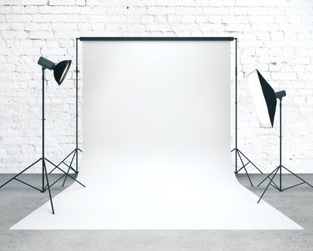 Photo studio with empty white background and professional lighting equipment. Mock up, 3D Rendering Imagens