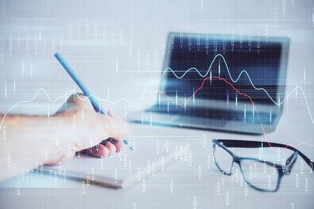 Multi exposure of man hands with stock market forex graph. Stok Fotoğraf