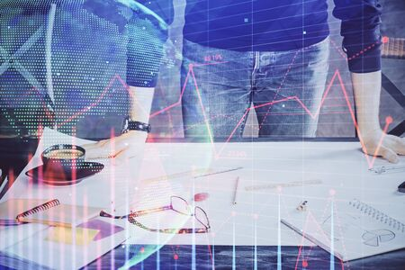 Multi exposure of man standing and planing investment with stock market forex chart. Stok Fotoğraf