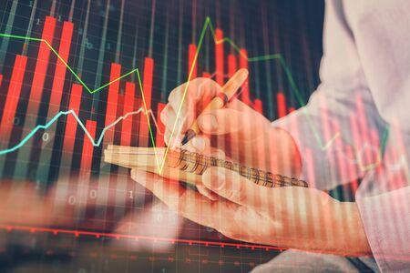 Double exposure hands with stock market chart. Stok Fotoğraf