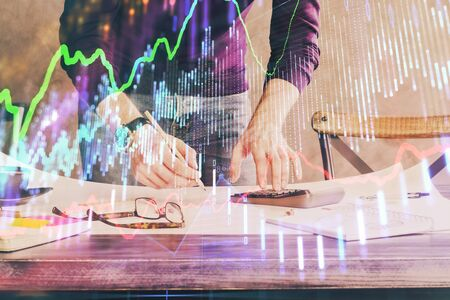 FOREX chart multi exposure with businessman office on background. Stok Fotoğraf