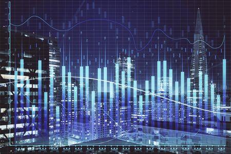 Grafico finanziario sullo scape notturno della città con esposizione multipla di edifici alti. Concetto di analisi.