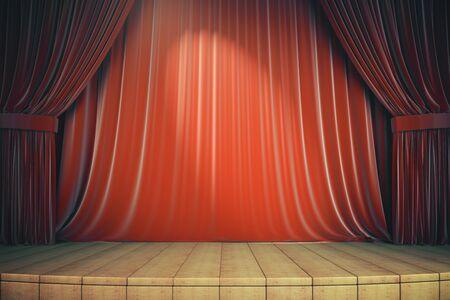 Palcoscenico in legno con tende rosse. Concetto di arte e presentazione. rendering 3d Archivio Fotografico