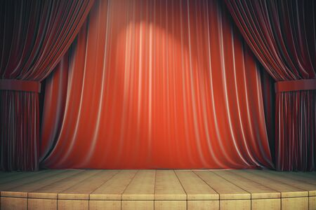 Wooden stage with red curtains. Art and presentation concept. 3d rendering Reklamní fotografie