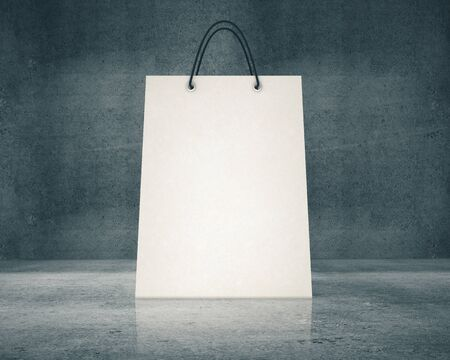 Blank white paper shopping bag in concrete room. Mock up, 3D Rendering