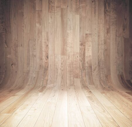 Curved wooden background, wooden parquet, texture with copy space. 3D Rendering