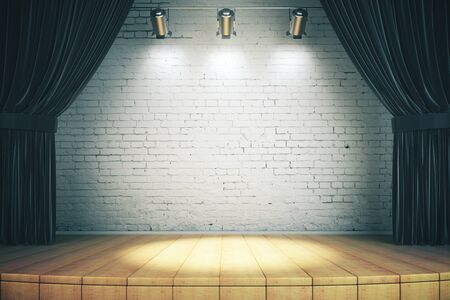 Wooden stage with black curtains and a white brick wall with spotlights, mock up, 3d rendering