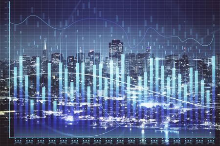 Financial graph on night city scape with tall buildings background double exposure. Analysis concept. Banco de Imagens