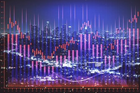 Financial graph on night city scape with tall buildings background multi exposure. Analysis concept. Banco de Imagens