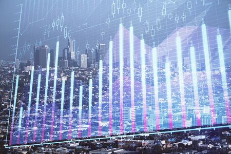 Forex chart on cityscape with skyscrapers wallpaper double exposure. Financial research concept.