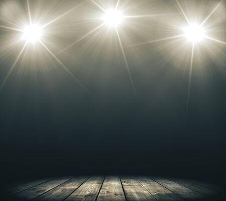 Bühne mit Rauch- und Spotlichtern. Präsentationskonzept. 3D-Rendering