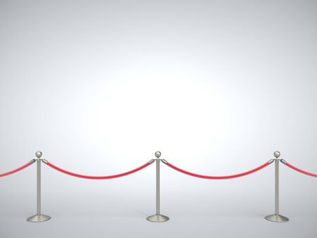 Stanchions barrier isolated on white background. 3D Rendering