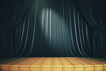 Wooden stage with black curtains. Art and presentation concept. 3d rendering