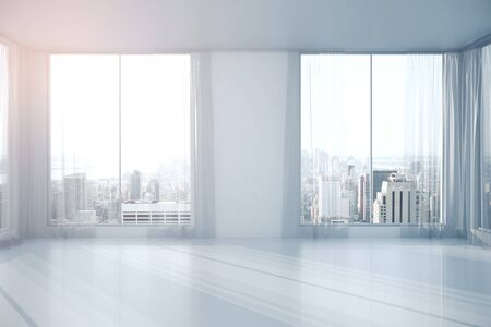 Two windows with curtains in room interior, concrete wall and city view. 3D Rendering