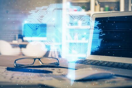 Double exposure of table with computer and brain hologram. Data innovation concept. Stok Fotoğraf