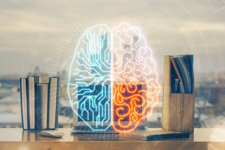 Double exposure of work table with computer and brain sketch hologram. Brainstorming concept. Stok Fotoğraf