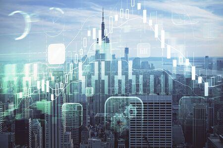 Wykres Forex na widok miasta z tłem drapaczy chmur podwójna ekspozycja. Koncepcja analizy finansowej.
