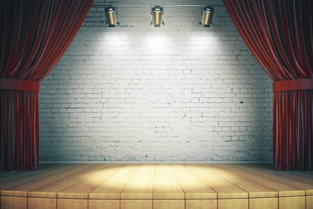 Wooden stage with red curtains and a white brick wall with spotlights, mock up, 3d rendering