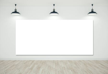 White room with blank poster on wall and ceiling lamp. Presentation concept. Mock up, 3D Rendering Banco de Imagens