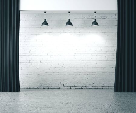 White brick grunge wall with ceiling lamp. Presentation concept. Mock up, 3D Rendering