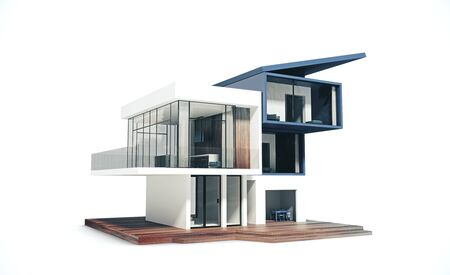 Project of a house on white background. Building and architecture concept. 3D Rendering