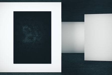 Abstract interior with empty poster on wall. Gallery concept. Mock up, 3D Rendering