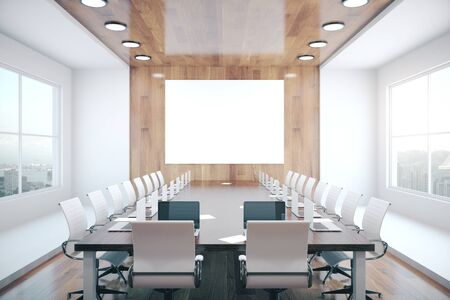 Conference interior with blank wooden wall, equipment and city view. Mock up, 3D Rendering