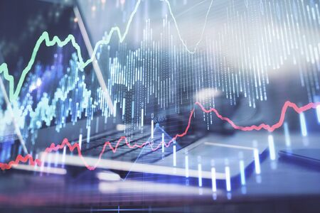 Stock market graph and table with computer background. Multi exposure. Concept of financial analysis. Reklamní fotografie