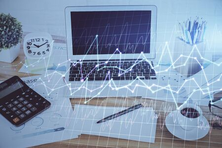 Multi exposure of forex graph and work space with computer. Concept of international online trading.