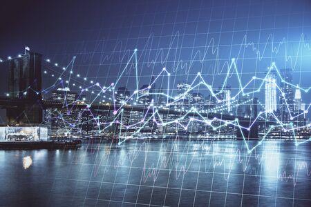Financiële grafiek op stadsgezicht met hoge gebouwen achtergrond multi-blootstelling. Analyse concept. Stockfoto