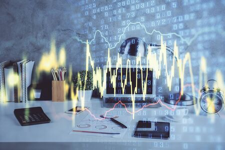 Multi exposure of forex graph and work space with computer. Concept of international online trading. Reklamní fotografie