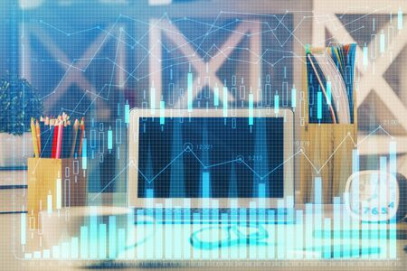 Double exposure of forex graph and work space with computer. Concept of international online trading. Reklamní fotografie