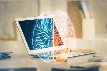 Double exposure of work table with computer and brain sketch hologram. Brainstorming concept. Reklamní fotografie