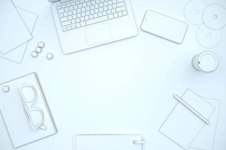 Posto vuoto sul tavolo bianco pieno di strumenti per ufficio. Mock up, rendering 3D