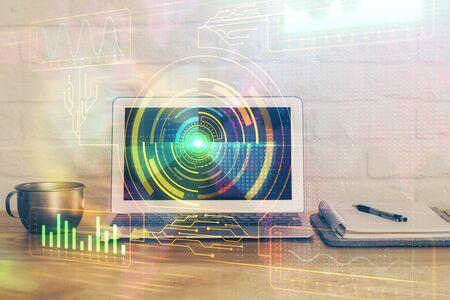 Doppia esposizione del tema del computer e della tecnologia hud. Concetto di innovazione.