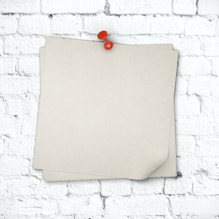 Gray blank stickers on white brick wall. Business presentation concept. Mock up, 3D Rendering