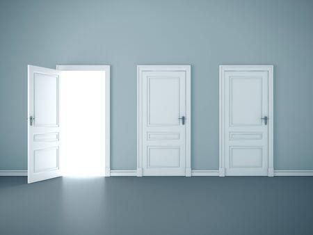 Bright light through an open door in blue room. Mock up, 3D Rendering Standard-Bild