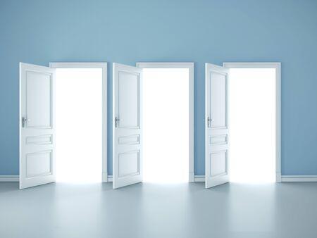 Bright light through an open three doors in empty room. Mock up, 3D Rendering