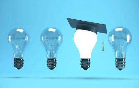 Lightbulb with graduation hat on blue background. Success and education concept. 3D Rendering