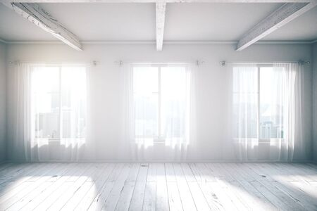 White room loft room design with three windows, wooden floor, curtains and city view. 3D Rendering Imagens